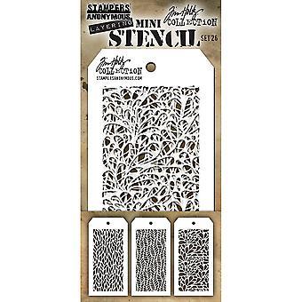 Tim Holtz Mini Layered Stencil Set 3/Pkg-Set #26