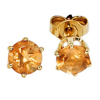 Citrine earrings boutons 585 Gold Yellow Gold 2 yellow citrine earrings gold gemstone jewelry