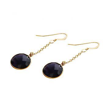 Violet - 2 cm - Amethyst - gold-plated ladies - earrings - earrings - 925 Silver-