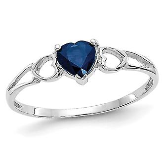 1/2 Carat (ctw) Natural Blue Sapphire Heart Promise Ring in 14K White Gold