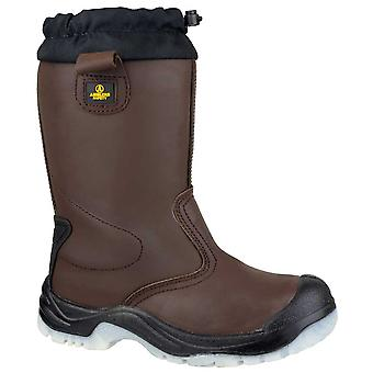 Amblers Safety Mens FS219 Pull On Leather Safety Rigger Boots Brown