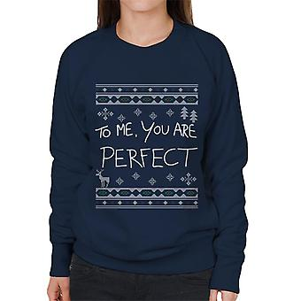 Love Actually To Me You Are Perfect Christmas Knit Women's Sweatshirt
