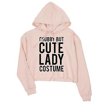Chubby But Cute Lady Costume Womens Pink Crop Hoodie