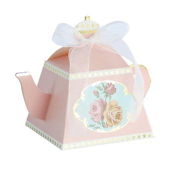 TRIXES Mini Teekanne Gunst Boxen mit Band Pack 50 Süßigkeiten und Geschenke