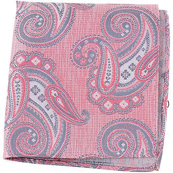 Knightsbridge Neckwear Large Paisley Silk Pocket Square - Pink/Lilac