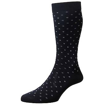 Pantherella Streatham tutto calze di cotone Spot Lisle - Navy