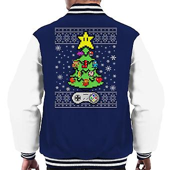 Retro Games Console Christmas Tree Men's Varsity Jacket