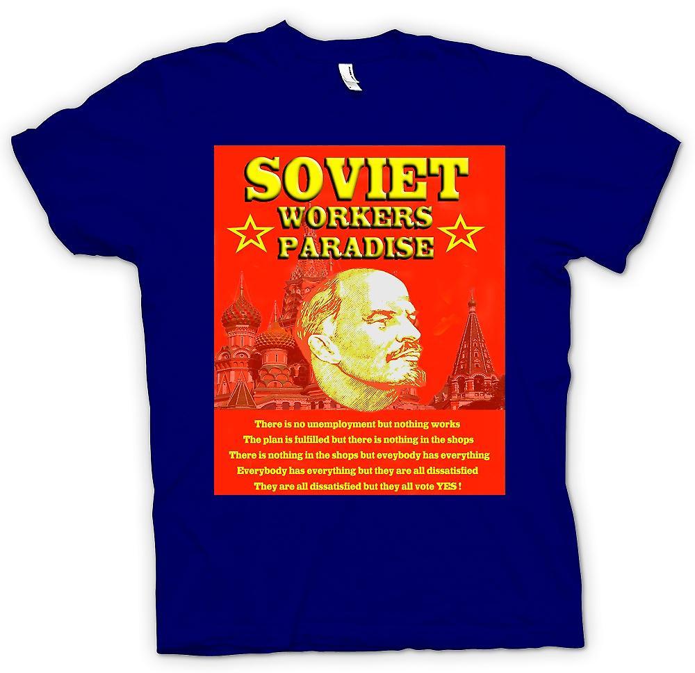 Mens t-skjorte - Lenin - sovjetiske arbeidere paradis
