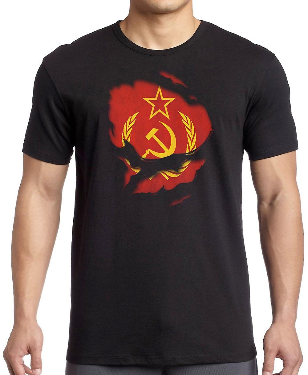 USSR Russia Russian Ripped Effect Under Shirt Kids T Shirt