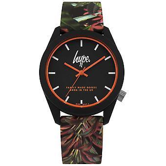Hype | Black Leaf/Flower Silicone Strap | Black Dial | HYU009BN Watch