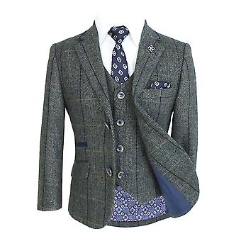 Cavani Mens & Boys Grey Wool Blend Herringbone Check Tweed Suit