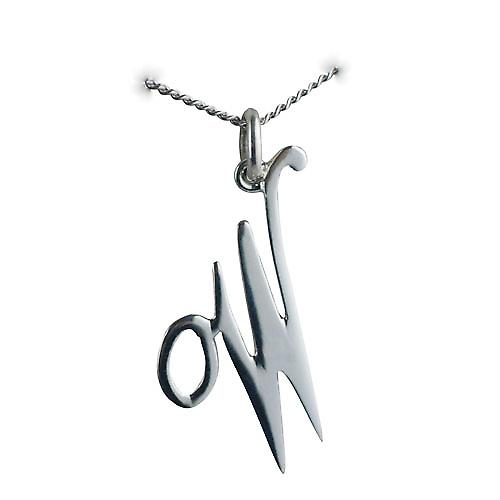 Silver 28x21mm plain Palace script Initial W Pendant with a curb Chain 20 inches