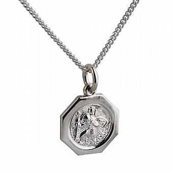 Silver 15x15mm octagonal St Christopher Pendant with a curb Chain 18 inches