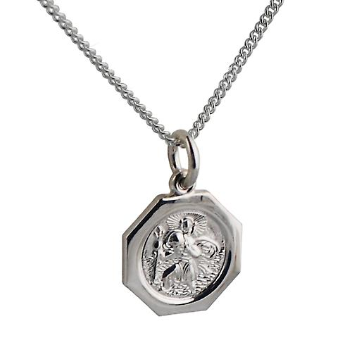 Silver 15x15mm octagonal St Christopher Pendant with a curb Chain 22 inches