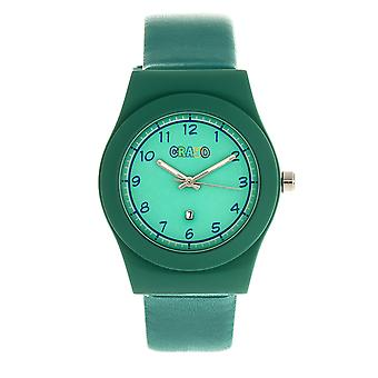Crayo Dazzle Leather-Band Watch w/Date - Teal
