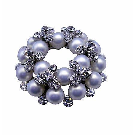 Vintage Pearls Brooch Pin with Cubic Zircon Bud Brooch