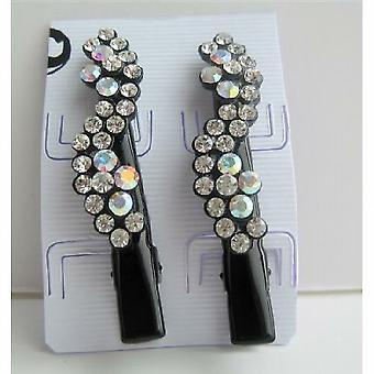 Schwarze Haare Pin Kristalle Blume paar Hair Pin Clip Haarschmuck
