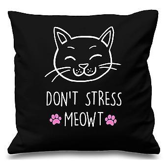 Black Cushion Cover Cat Don't Stress Meowt 16