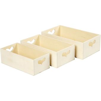 3 Wooden Small Crates with Heart Cut-Out Handles   Wooden Shapes for Crafts
