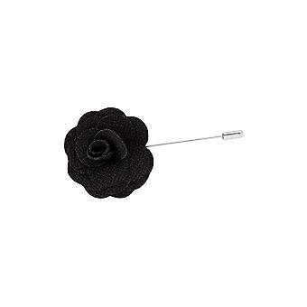 Dobell Mens Black Flower Lapel Pin for Suit, Jacket, Blazer, Wedding Accessory