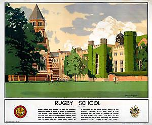Rugby School (old rail ad.) fridge magnet  (se)