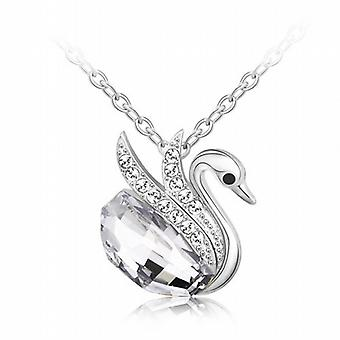 TOC Silvertone Clear Crystal Swan Pendant Necklace 16