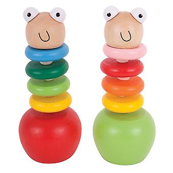 Bigjigs Toys aus Holz Push-Up Worms (2 Stück) traditionelle Füllstoffe Strumpf