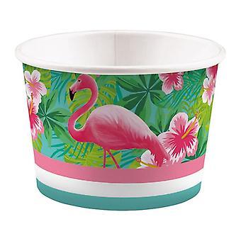 Flamingo Beach Party Eisbecher 270 ml 8 Stück Sommer Grill Fest Geburtstagsparty