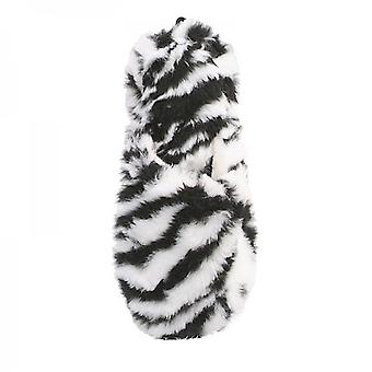 Ladies Plush Fur Black & White Zebra Print Mule Slippers