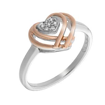 Orphelia Silver 925 Ring Heart Shape Rose Gold Zirconium ZR-7368