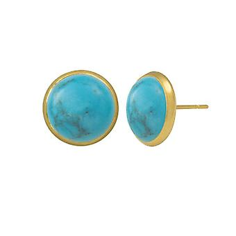 Eternal Collection Symphony Natural Turquoise Gold Pierced Stud Earrings