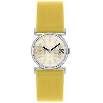 Orla Kiely Cecelia Yellow Leather Strap Champagne Dial OK2021 Watch