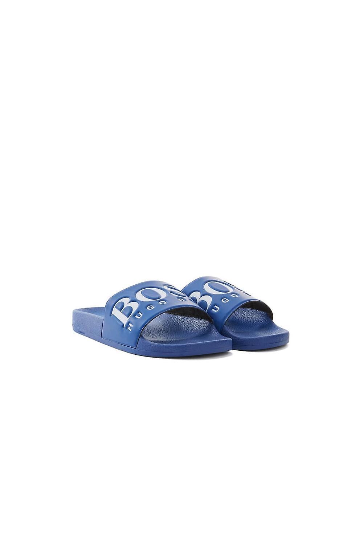 BOSS Footwear & Accessories Hugo Boss vert Solar Slider Big Logo Flip Flops Medium bleu
