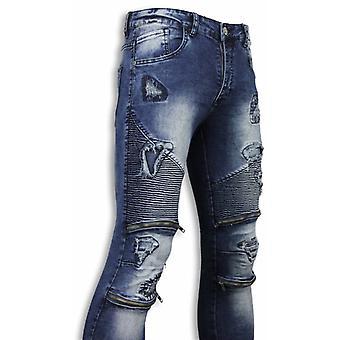 Exclusive Biker Jeans-Slim Fit Damaged Biker Jeans With Zippers-Blue