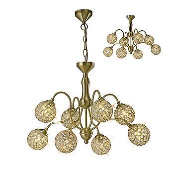 Diyas Apollo Pendant 8 Light Satin Brass/Crystal