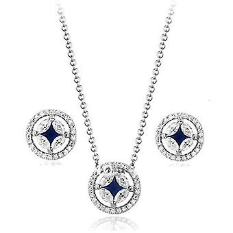 18K White Gold Plated Blue Moon Cubic Zirconia Set