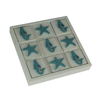 Sirena de madera azul y blanca y Starfish Tic Tac Toe Game Board
