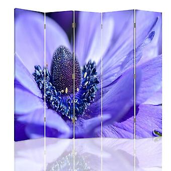 Room Divider, 5 Panels, Double-Sided, 360 ° Rotatable, Canvas, Blue-Purple Flower