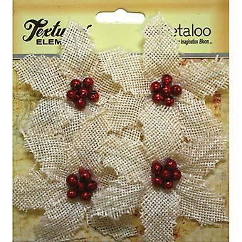 Textured Elements Burlap Poinsettias 4/Pkg-Ivory P1140200