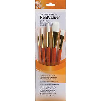 Real Value Brush Set Synthetic White Taklon Round 2,8,12, Stroke 3 4, Wash 1 2 P9152