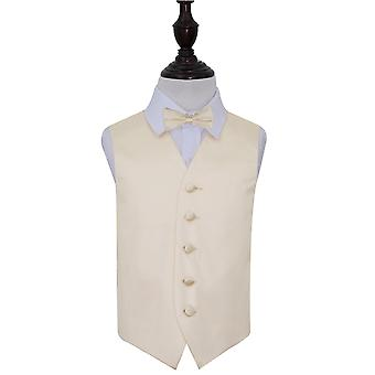 Boy's Champagne Plain Satin Wedding Waistcoat & Bow Tie Set