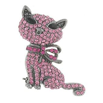 Butler en Wilson Cute Crystal Cat broche roze