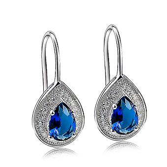 Affici 18ct White Gold Plated Sterling Silver Drop Earrings with Blue Sapphire Peardrop CZ Gems