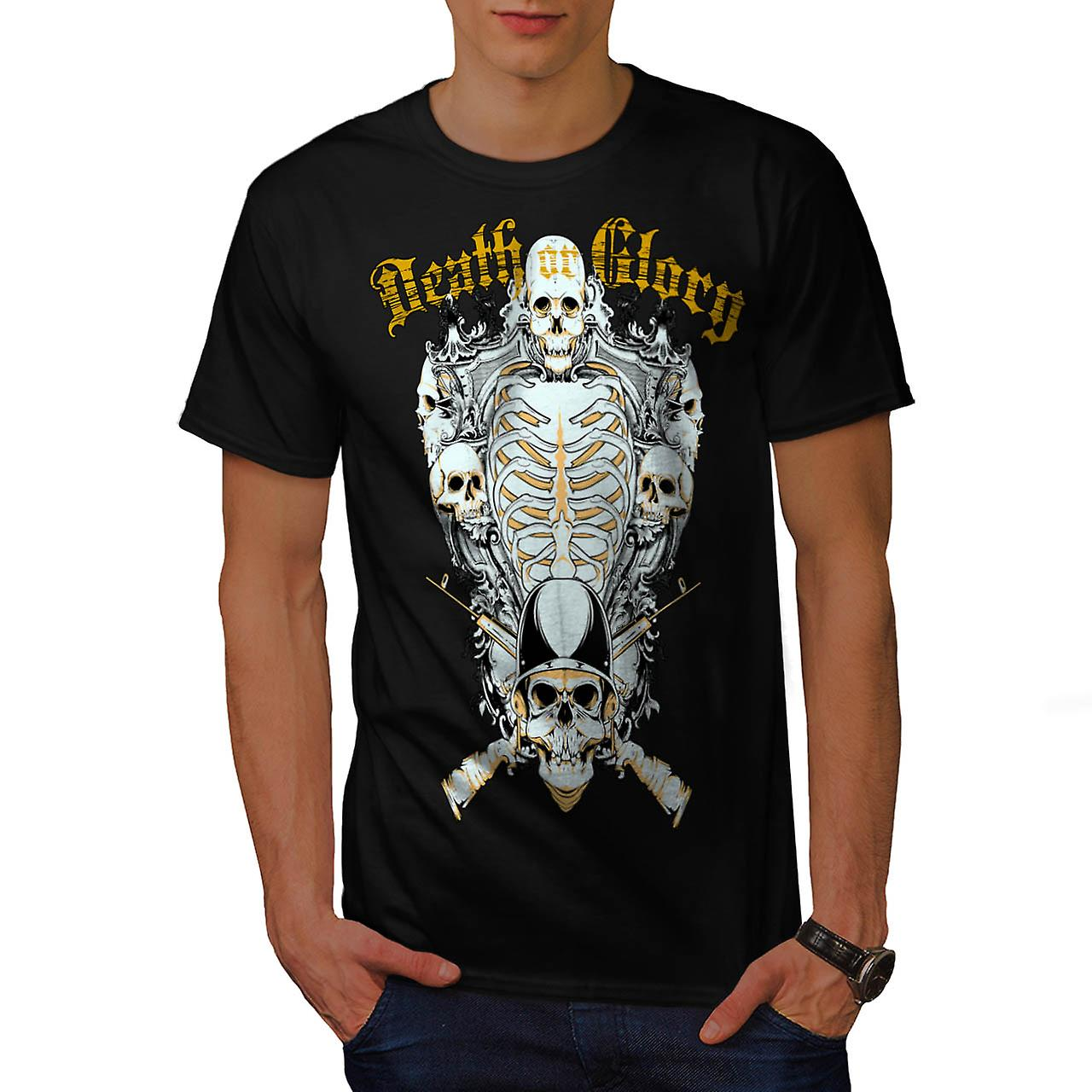 Death Glory Guns Skull Skull Army Men Black T-shirt | Wellcoda