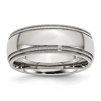 Stainless Steel Beaded Engravable Grooved and Bead Charmed 8mm Polished Band Ring - Ring Size: 8 to 14