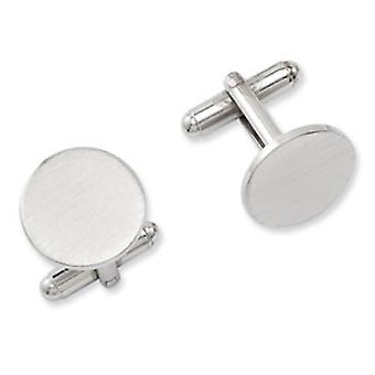 Rhodium-plated Round Satin Cuff Links