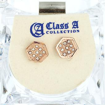 Iced Out Bling Ohrstecker Box - HEXAGON 8mm rose gold