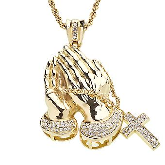 Iced Out Bling Anhänger - PRAYING HANDS gold