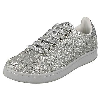 Ladies Spot On Glittery Lace Up Pumps F80268