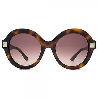 Valentino Super Stud Round Sunglasses In Havana